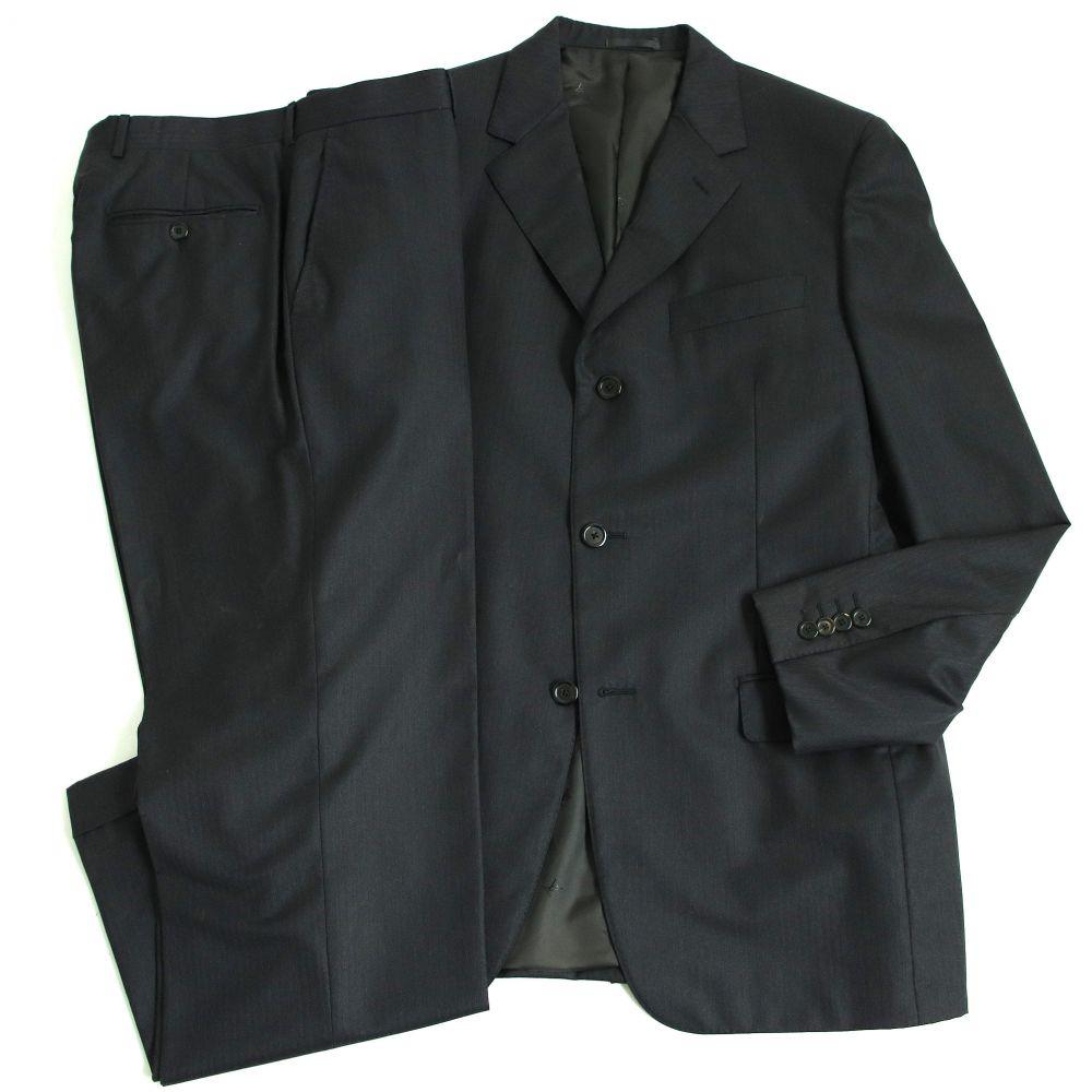 【中古】美品◆LOUIS VUITTON ルイヴィトン シングルスーツ 50 ブラック イタリア製 メンズ ビジネスシーンオススメ◎