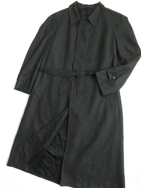【中古】良品▼ISAIA イザイア カシミヤ100% ベルト付き ロングコート 50 ダークグレー イタリア製 シンプルデザイン◎