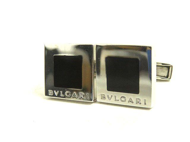 【中古】良品◆BVLGARI ブルガリ ロゴ刻印 SV925 スクエア カフリンクス/カフス シルバー×ブラック 箱付き メンズ ビジネスシーン◎