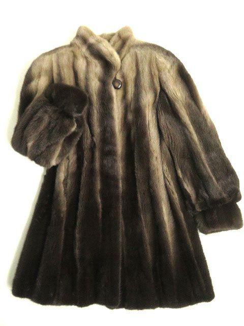 【中古】極美品▼MINK グラデーションミンク 逆毛 裏地ドット柄 本毛皮コート ブラウン F 毛質艶やか・柔らか◎
