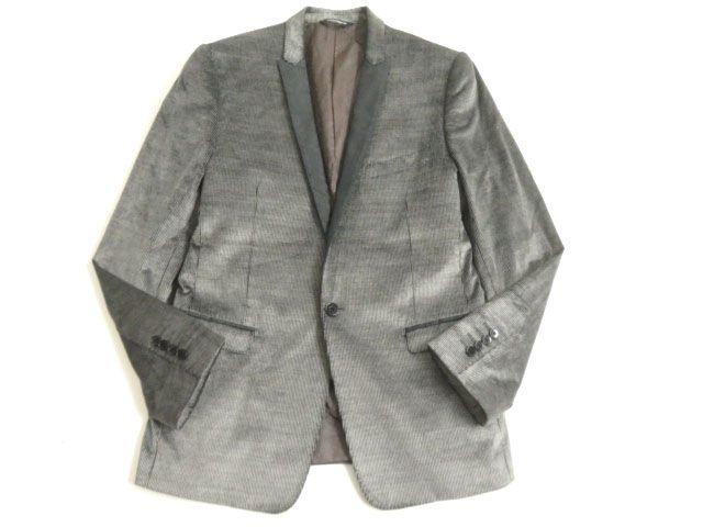 【中古】良品▽黒タグ ドルチェ&ガッバーナ ストライプ柄 シルク混 シングルジャケット グレー系 46 イタリア製 正規品