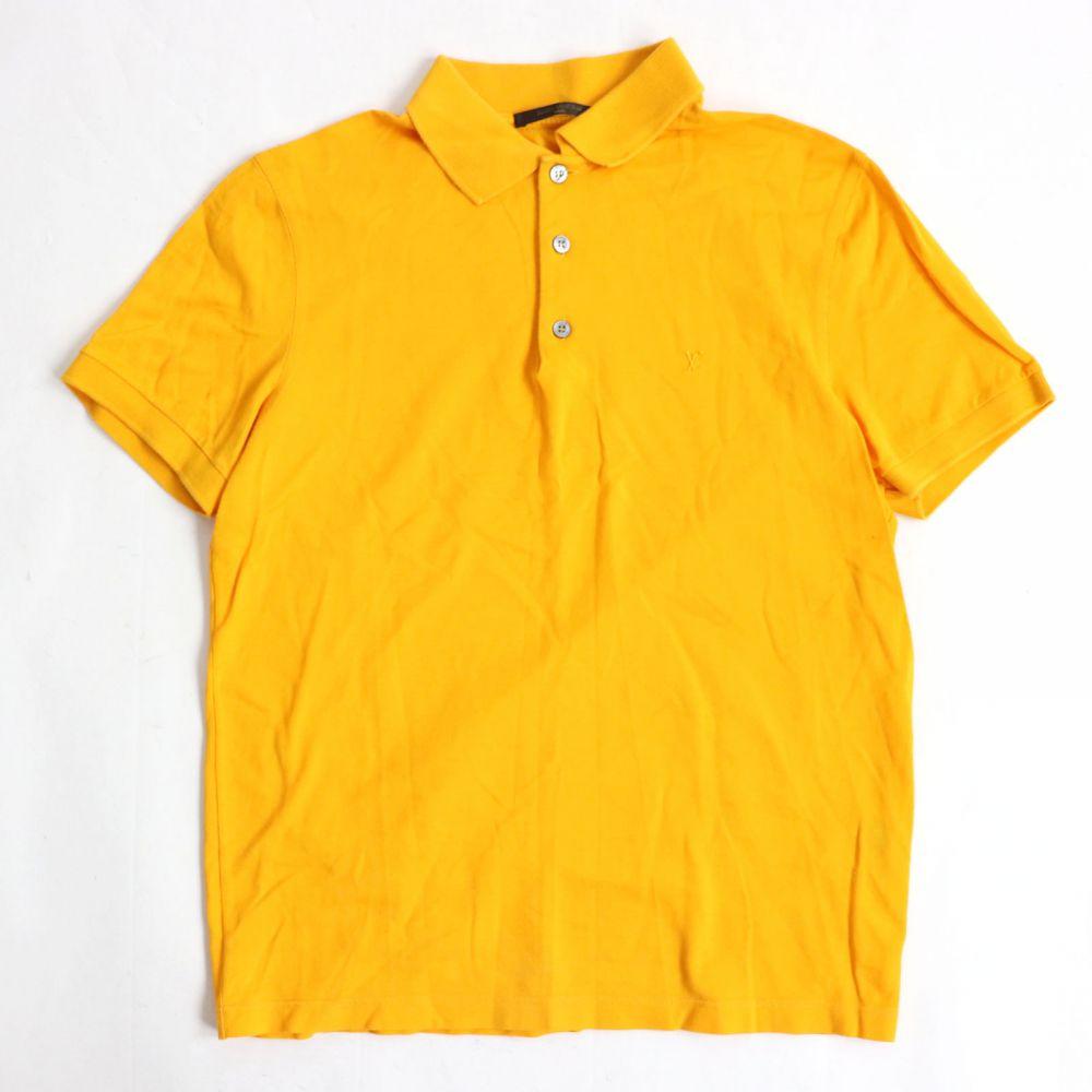 【中古】美品☆ルイヴィトン LOUIS VUITTON コットン100% ロゴ刺繍入り 半袖 ポロシャツ イエロー S イタリア製 正規品 メンズ