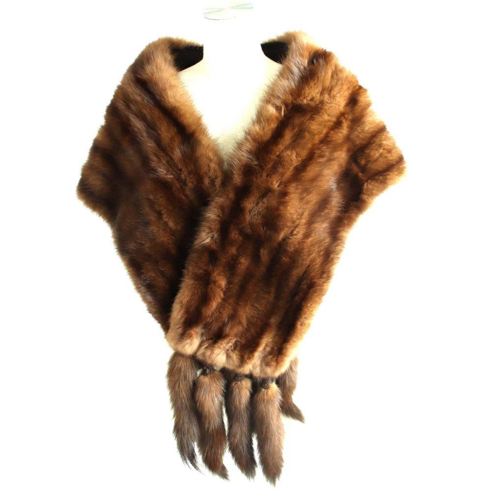 【中古】美品▼SABLE セーブル 房付き 本毛皮ショール ブラウン 毛質柔らか◎