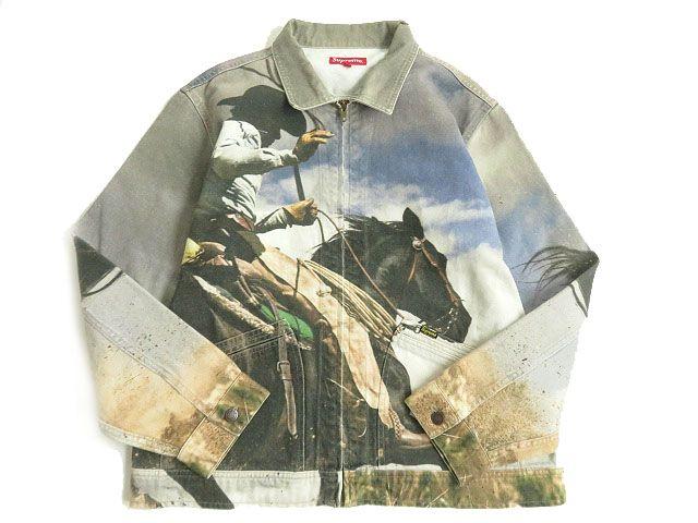 【中古】美品▽2017年SS シュプリーム Cowboy Denim Work Jacket カウボーイデニムワークジャケット マルボロ マルチカラー L 正規品