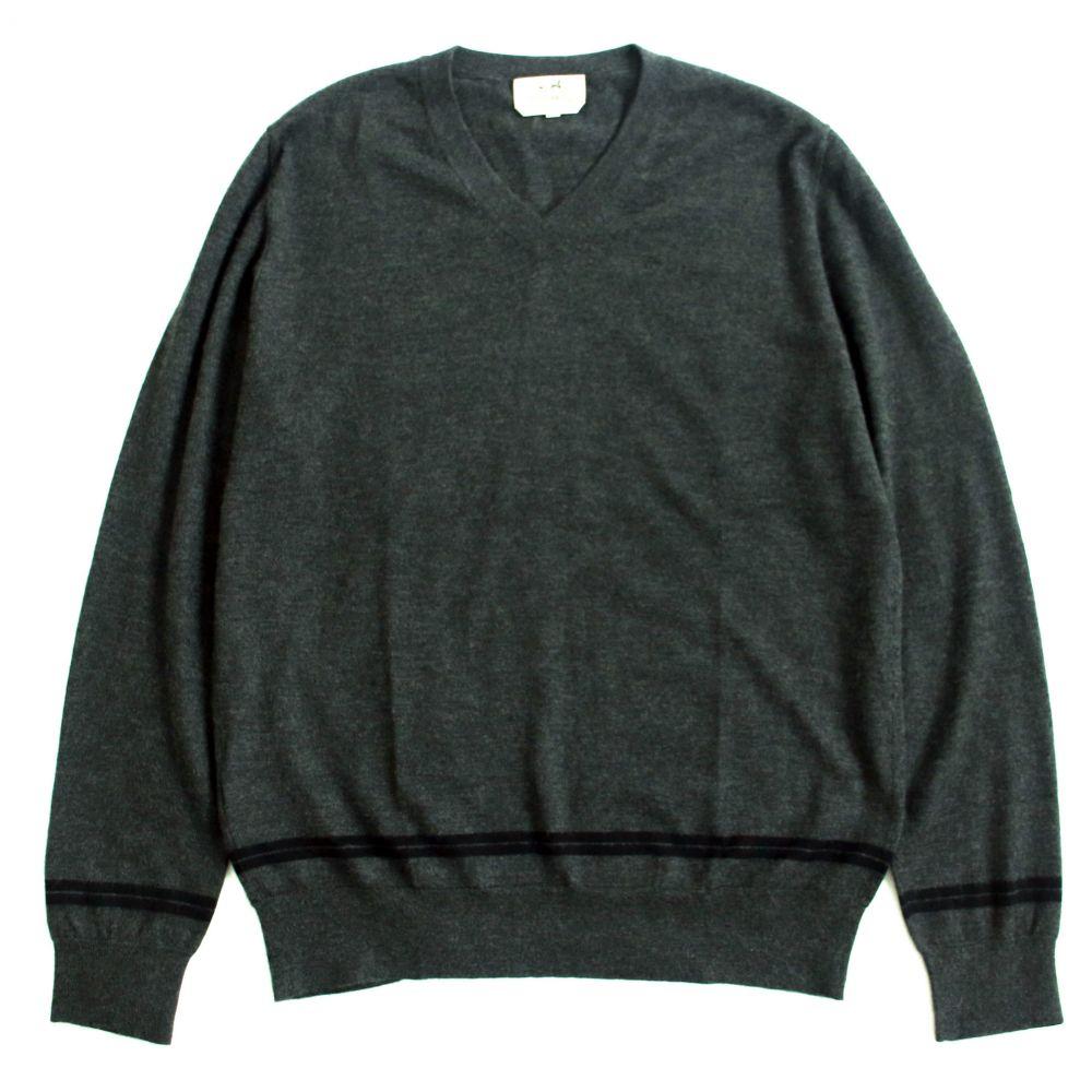 中古 極美品HERMES エルメス ラインデザイン カシミヤ100% Vネック 薄手 イタリア製 正規品 セーター お中元 グレー 新作製品 世界最高品質人気 XL 長袖ニット