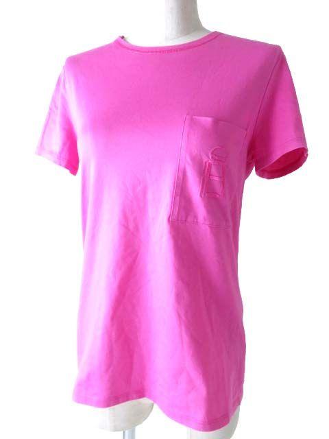 【中古】良品◎フランス製 HERMES エルメス レディース 刺繍ポケット付き Tシャツ/半袖カットソー ピンク サイズ36