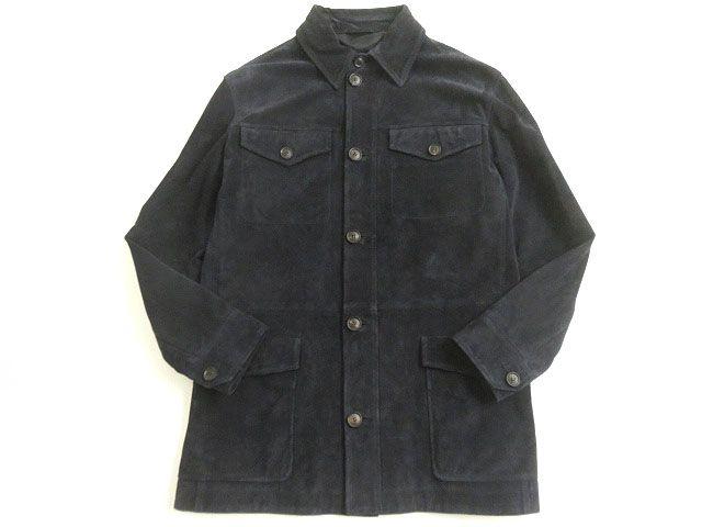 【中古】美品▽ブリオーニ ロゴボタン付き スウェードレザー シャツジャケット/ハーフコート ネイビー 50 イタリア製 正規品 タグ付き