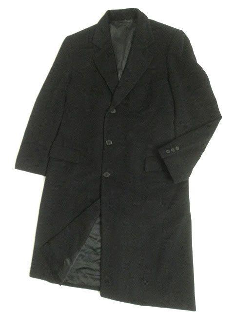【中古】美品▽HERMES エルメス カシミヤ100% チェスターコート/ロングコート ブラック 50 メンズ イタリア製 正規品