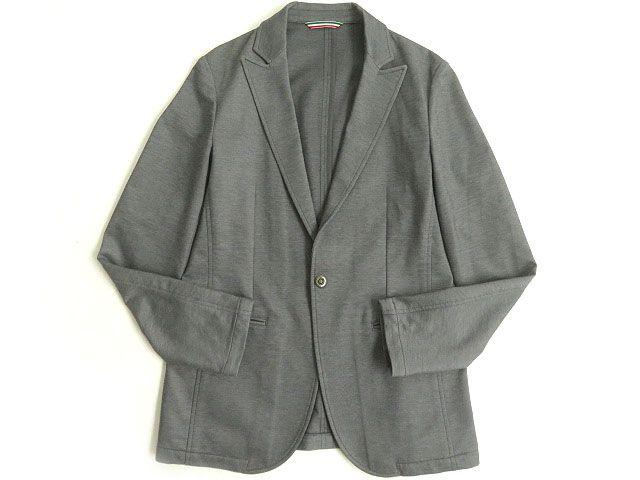 【中古】美品△黒タグ EMPORIO ARMANI エンポリオアルマーニ ジャージージャケット/シングルジャケット グレー 44 日本製 正規品