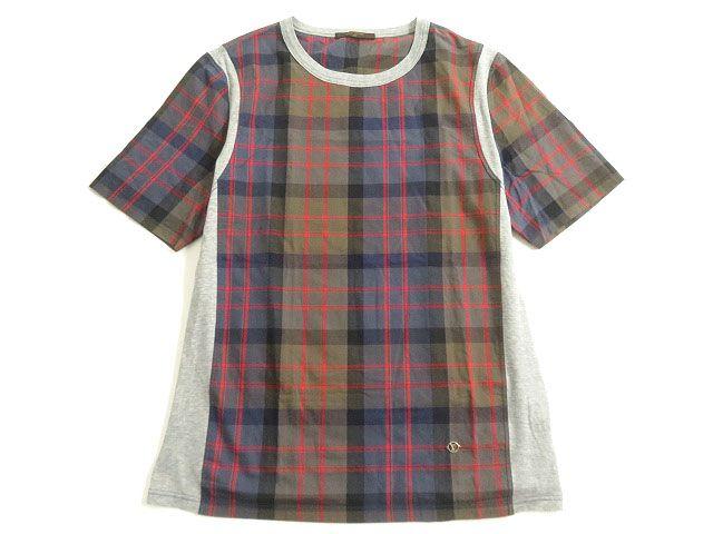 【中古】美品▽2017年SS ルイヴィトン LVサークル金具付き チェック柄 半袖 Tシャツ マルチ XXL イタリア製 正規品