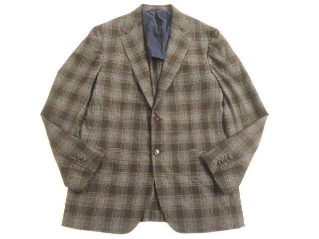 【中古】美品▽Sartorio サルトリオ チェック柄 シングルジャケット/ウールジャケット ブラウン系 50 イタリア製 ビジネス◎