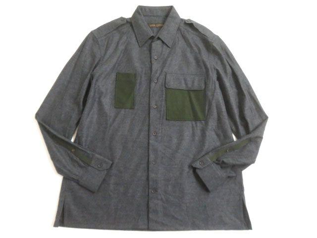 未使用品▽2016年製 LOUIS VUITTON ルイヴィトン 長袖 シャツジャケット グレー XL イタリア製 正規品 シンプルなデザイン◎【中古】