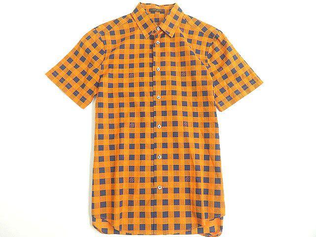 【中古】極美品◎2013年製 LOUIS VUITTON ルイヴィトン ダミエマサイチェック 半袖 コットンシャツ XS オレンジ×ブルー 正規品 イタリア製