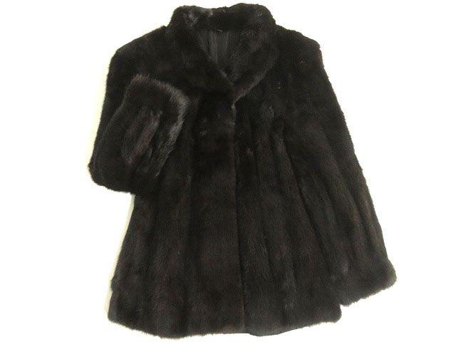 【中古】美品▼2 MINK ミンク 本毛皮コート ダークブラウン 毛質艶やか・柔らか◎