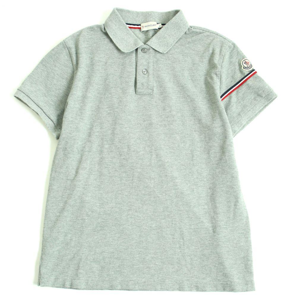 【中古】美品▽モンクレール マグリアポロ ロゴワッペン・ボタン付き トリコロール使い 半袖 ポロシャツ グレー L メンズ