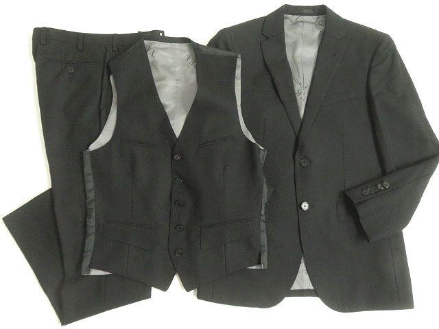【中古】極美品□ブラックレーベルクレストブリッジ ジェイクオリティ シングル 3ピーススーツ ブラック 90-74-165 36R 日本製 正規品 ガーメント付 メンズ