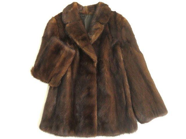 【中古】美品▼2 SAGA MINK サガミンク 本毛皮コート ブラウン 毛質艶やか・柔らか◎