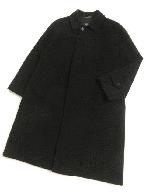 【中古】良品□バーバリーロンドン ロゴボタン カシミヤ100% ロング丈 スタンドカラーコート ブラック 90-165-4 日本製 正規品 メンズ