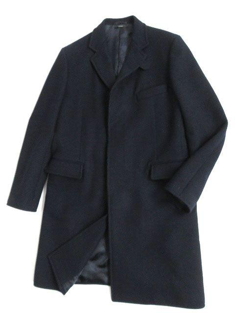 【中古】上質●2015AW エルメス 羊革 ラムレザー使い ウール100% 比翼仕立て ロングコート ダークネイビー 52サイズ 正規品 イタリア製