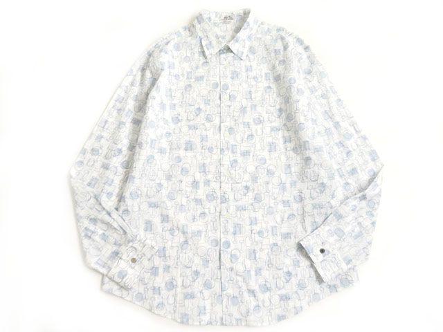 【中古】極美品▽HERMES エルメス セリエボタン付き 総柄 長袖 シャツ ホワイト×ネイビー 43・17 メンズ フランス製 正規品