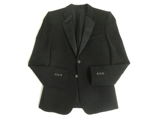 【中古】美品◎BALMAIN バルマン ナローラペル 襟シルク100% シングルジャケット ブラック 46 フランス製 シンプルデザイン◎