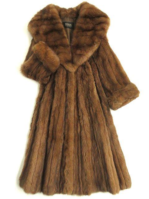 【中古】美品▼SABLE ロシアンセーブル ビッグカラー 本毛皮超ロングコート ブラウン 毛質艶やか・柔らか・ボリューム◎