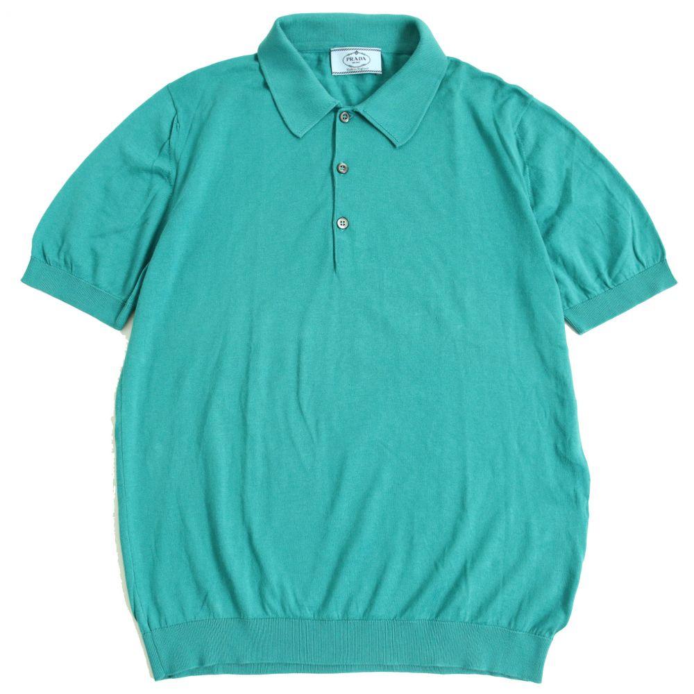 グリーン系 ポロシャツ イングランド製 正規品 プラダ 半袖 メンズ シンプルなデザイン◎ 【中古】美品▽PRADA 46