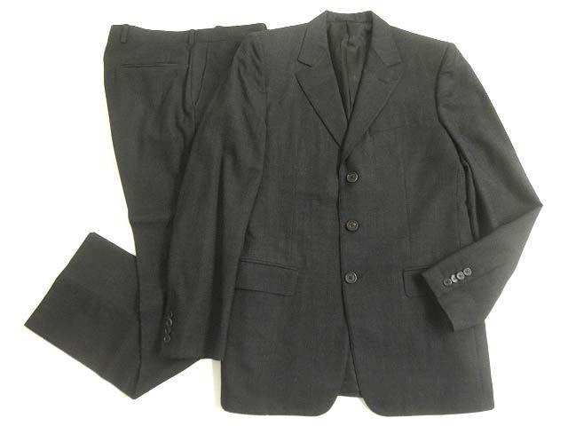 【中古】美品▽LOUIS VUITTON ルイヴィトン SUPER130's生地使用 ボタンフライ シングルスーツ/セットアップ グレー 50 イタリア製 正規品