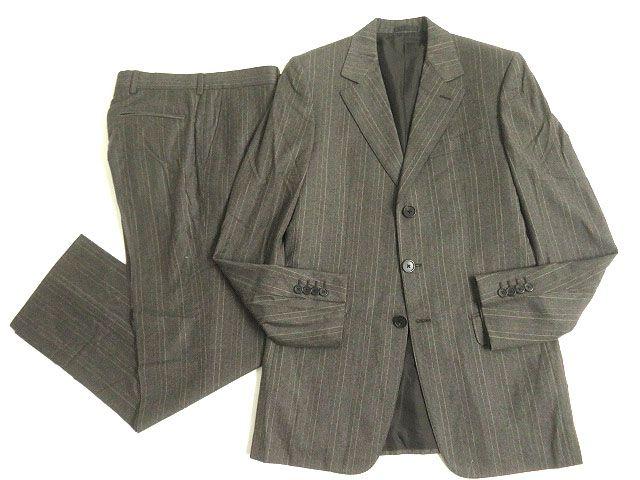 【中古】美品◎LOUIS VUITTON ルイヴィトン ストライプ柄 シングルスーツ 46 グレー系 正規品 イタリア製 ビジネスシーンオススメ◎