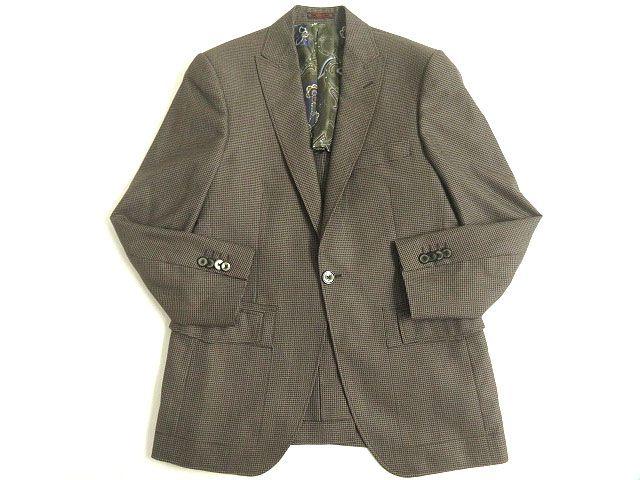 【中古】極美品◎ETRO エトロ 裏地総柄・シルク100% シルク混 シングルジャケット/テーラード ブラウングレー 48 正規品 イタリア製