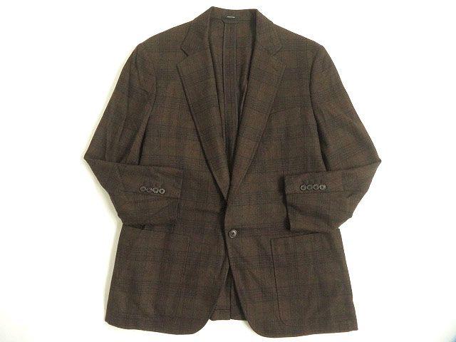 【中古】極美品◎HERMES エルメス カシミヤ混 チェック柄 シングルジャケット/テーラードジャケット ブラウン 54 正規品 イタリア製