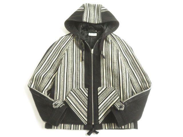 【中古】美品▽2018年SS サンローランパリ 506535 織柄 ペルー風 BAJAジャケット ブラック×クリーム 50 イタリア製 正規品