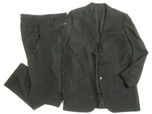 【中古】美品▽トゥモローランド カノニコ社製SUPER110's生地使用 3ピース シングルスーツ ブラック 52 正規品 ビジネスシーンなど◎