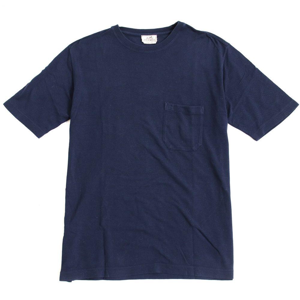 エルメス イタリア製 正規品 L 【中古】良品◆HERMES ネイビー コットンニット/Tシャツ メンズ 半袖 Hロゴ刺繍入り