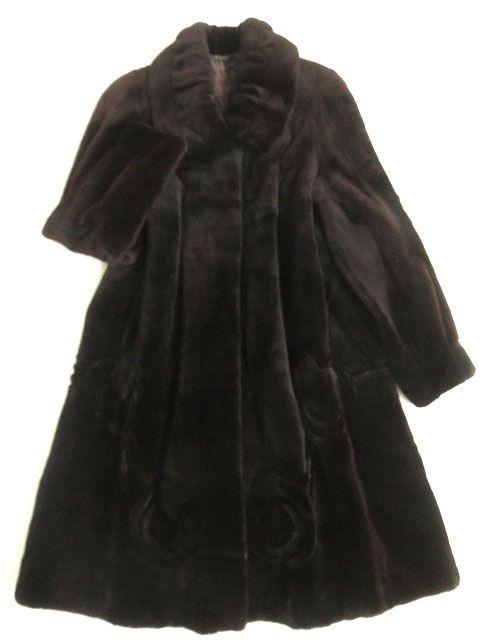 【中古】美品▼SAGA MINK サガシェアードミンク 裏地総柄 本毛皮ロングコート ダークブラウン F 毛質柔らか◎