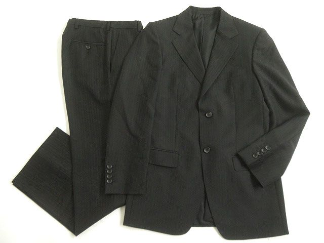【中古】美品▽GUCCI グッチ ストライプ柄 モヘア混 シングルスーツ ダークグレー 44R スイス製 正規品 ビジネスシーンなど◎