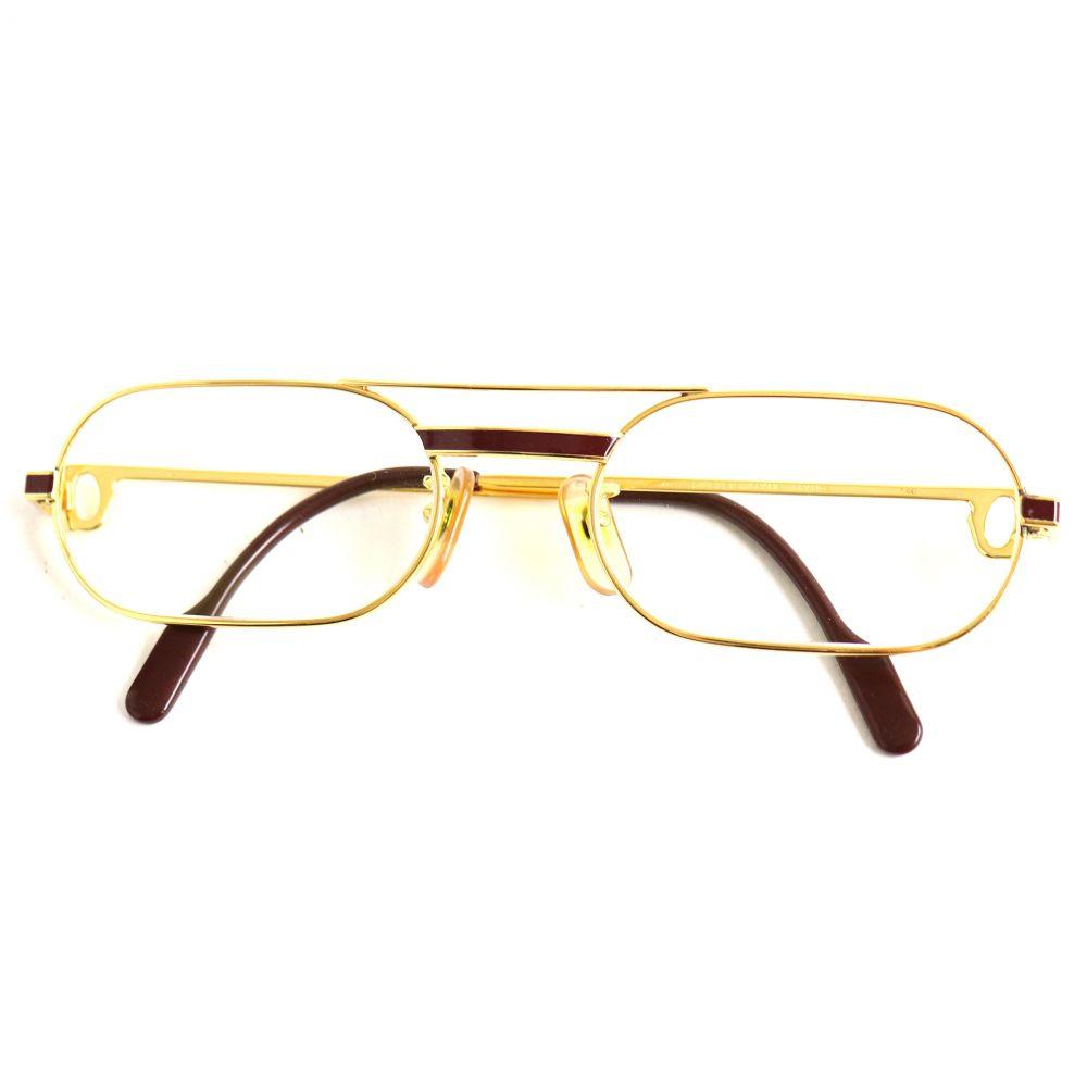 中古 美品 Cartier カルティエ 140 テンプルエンドロゴ 5520 テレビで話題 低価格 アイウェア フランス製 度入り 眼鏡 ゴールド×ボルドー