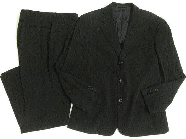 【中古】美品△ARMANI COLLEZIONI アルマーニコレツィオーニ ストライプ柄 シングルスーツ 上下セット 50 ブラック イタリア製