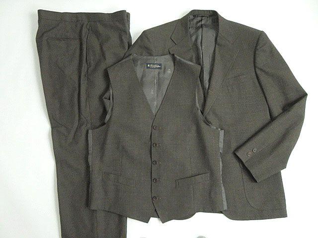 【中古】極美品★BROOKS BROTHERS ブルックスブラザーズ ウール100% 3ピース オーダースーツ/シングルスーツ ブラウン 正規品 メンズ