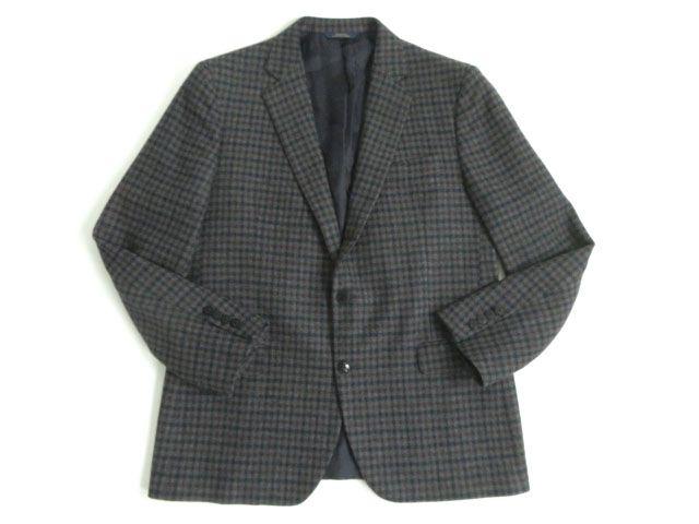 【中古】極美品★ブルックスブラザーズ Brooks Brothers ウール100% シングルジャケット グレー系 チェック柄 54 正規品 メンズ