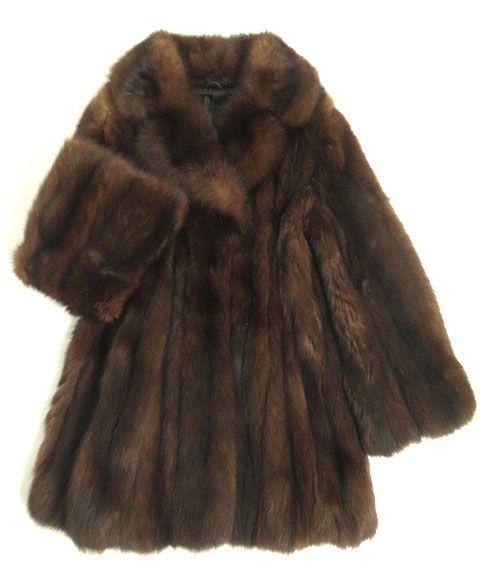 【中古】美品▼SABLE セーブル 本毛皮コート ブラウン ボリューム◎