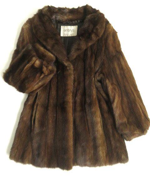 【中古】毛並み極美品▼14 MINK ミンク 本毛皮コート ブラウン 毛質艶やか・柔らか◎ レディース