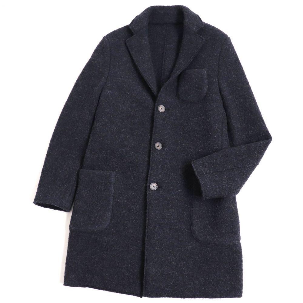 定番スタイル 中古 美品 LARDINI ラルディーニ ウール100% チェスターコート イタリア製 休み M 正規品 メンズ ネイビー