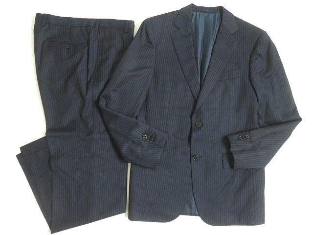 【中古】美品△エルメネジルドゼニア ALL SEASON TWILL ストライプ柄 シングルスーツ 上下セット ネイビー 48C イタリア製