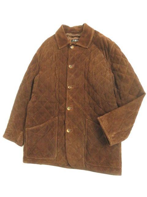 【中古】良品▽Salfra サルフラ キルティング スウェードレザージャケット ブラウン 50 イタリア製 シンプルなデザイン◎