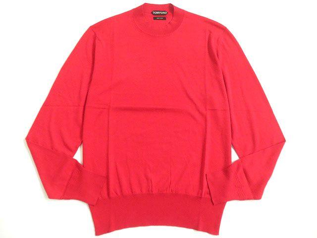 【中古】極美品▽TOMFORD トムフォード シルク59% 長袖 ニット/セーター レッド 46 イタリア製 シンプルなデザイン◎