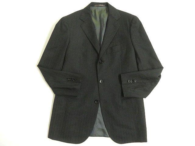 【中古】極美品◎Stile Latino スティレラティーノ ストライプ柄 シングルジャケット/テーラードジャケット ダークグレー 46 正規品 イタリア製