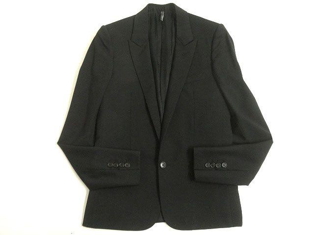 【中古】良品◎Dior HOMME ディオールオム ピークドラペル シングルジャケット/テーラードジャケット ブラック 44 正規品 イタリア製