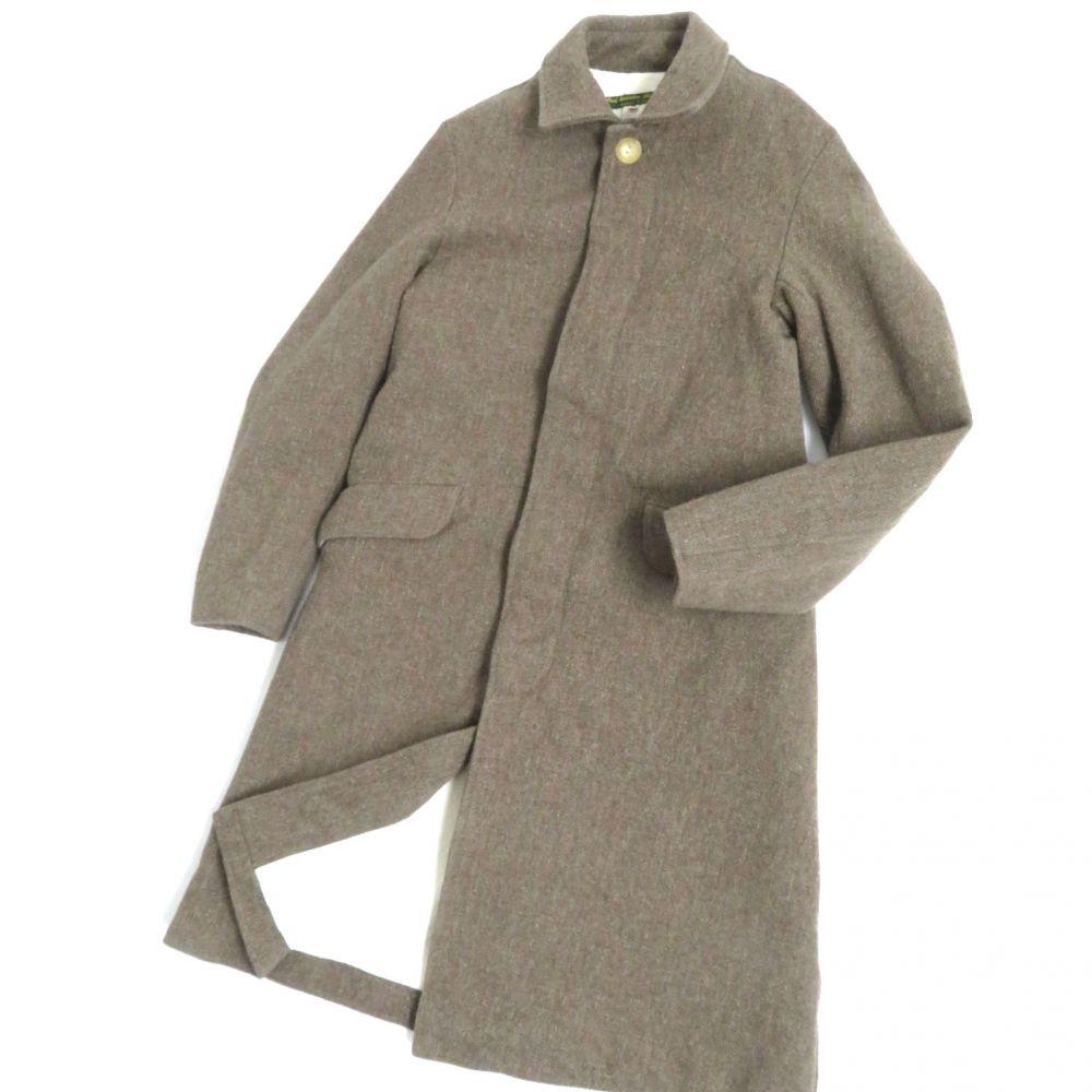 【中古】美品●Paul Harnden ポールハーデン ツイード ロング丈 マックコート/ステンカラーコート ブラウン XSサイズ 正規品 英国製