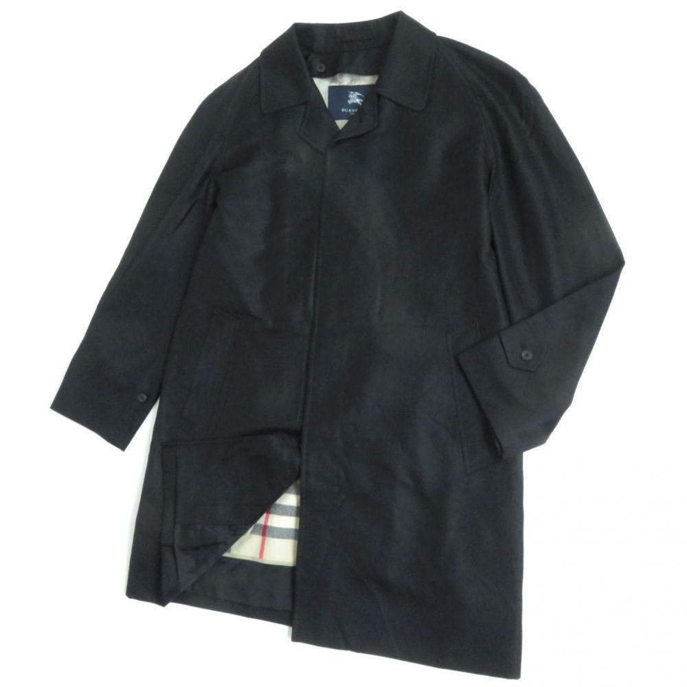 【中古】良品●バーバリーロンドン 裏ノバチェック ウールライナー付 シルク混 ロング丈 スプリングコート 92-170-5 ブラック 日本製 正規品 メンズ
